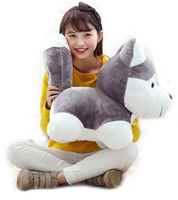 75CM Big Husky Dog Plush Toy Jumbo Giant Stuffed Animal Soft Large Doll Kid  Gift d1c8a68671aa
