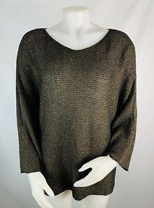 Eileen Fisher Women's XL Linen Sliced Sleeve Top Brown Long Sleeve Lagenlook