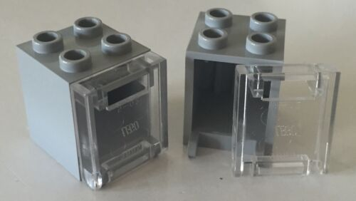 *NEW* 10 Sets Lego Container BLUISH GRAY 2x2x2 CLEAR Door with Slot 4345 4346