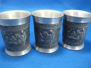 3 Antique German Embossed Pewter Feinzinn Shooters/ Cups Engraved 3 Scences
