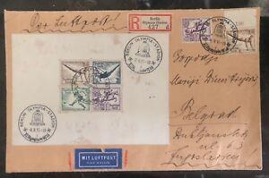 1936 Berlin Germany Olympics Souvenir Sheet Cover to Belgrade Yugoslavia  # B92