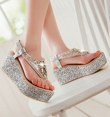 Women's Wedge Heels Thong Slippers Bling Bling Platform Flip flops Sandals Size