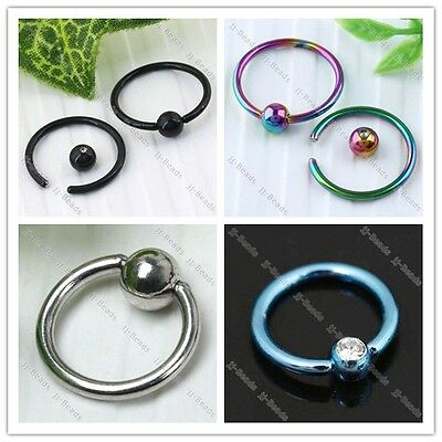 10pc 16G Stainless Steel Hoop Ear Nose Lip Eyebrow Captive Ball Bead Ring Jewel