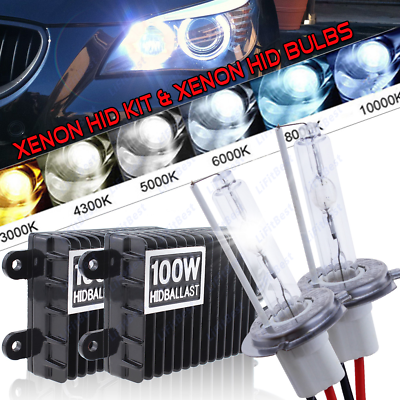 H1 100W Car Xenon Conversion KIT HID Headlight Lamp Slim Ballasts Bulbs 6000K