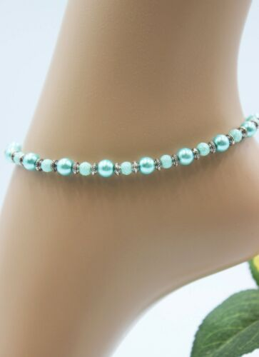 Glass Jewels XL plata ajorcas fußkette playa perlas azul claro Boho #j063