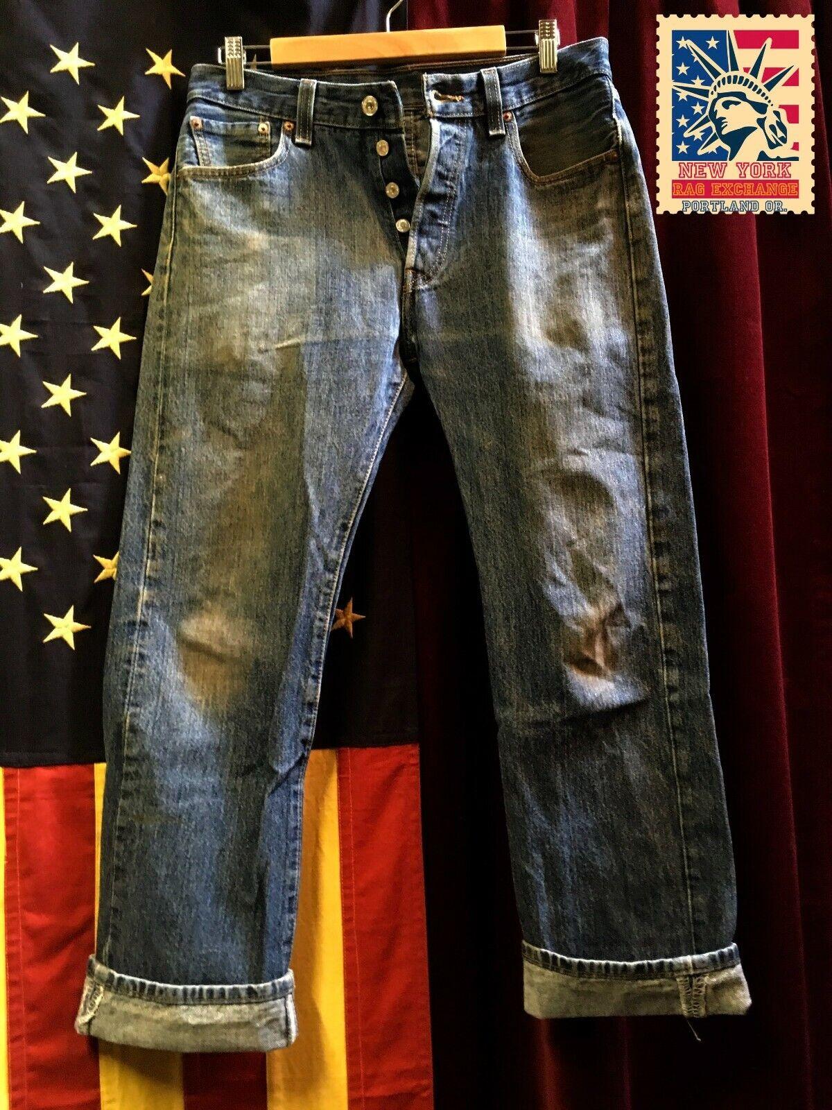 Levi's 501 Jeans Distressed Faded Denim W32 L30 8… - image 1