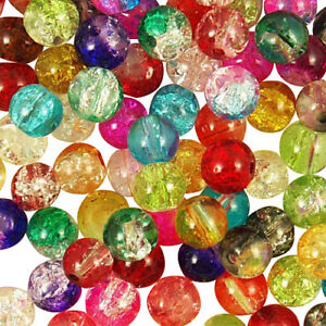Mixed-Coloured-Glass-Crackle-Round-Beads-Choose-4mm-6mm-amp-8mm