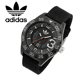 REDUCED-Adidas-ADH3157-Black-Canvas-Strap-Fashion-Large-Numbers-Watch-RRP-49