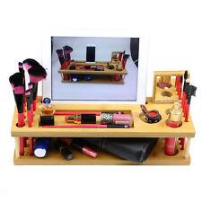 Handmade Bamboo Wood Beauty Makeup Brush Organizer Phone iPad Holder Station
