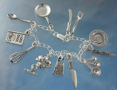 Sterling Silver One Sided I Love to Cook with Chef Hat Necklace