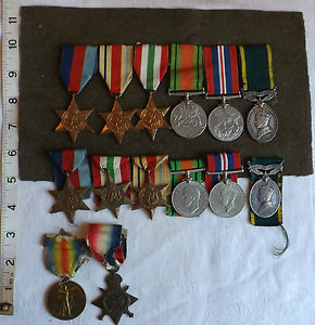 Original-Military-WWI-II-Family-Group-Of-Medals-3-Members-Marsh-Family-1033