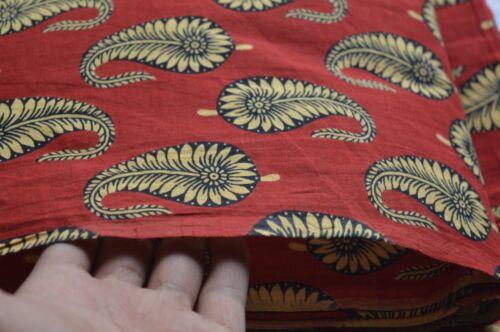 10 Yard Paisley Red Indian Block Print 100 /%Cotton Fabric Running Fabric Throw