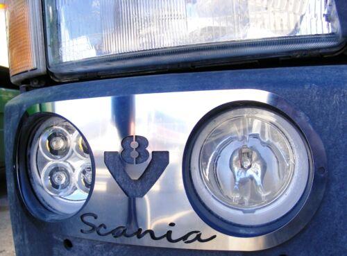 2 PSC Scania R V8 Acier Inoxydable Brouillard Feux Métal Décorations