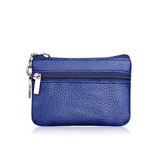 Women Men Leather Zip Change Coin Purse Clutch Mini Wallet Pouch Key Card Holder