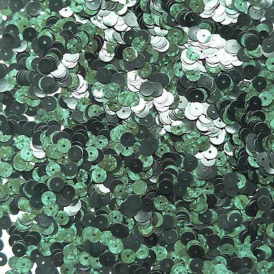 6mm Flat Loose Sequin Paillette Deep Green Marbled Mottled Opaque Shiny