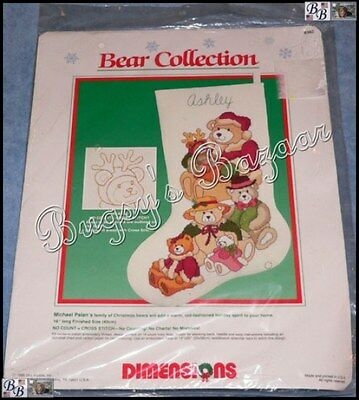 Dimensions BEAR COLLECTION STOCKING No Count Cross Stitch Christmas Kit – OOP