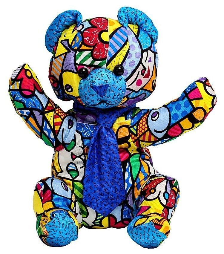 ROMERO BRITTO 'Mr. 'Mr. 'Mr. Silk Bear' Soft Plush Stuffed Animal Sculpture 18