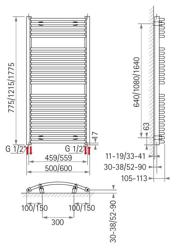Schulte Design-Heizkörper Badheizkörper Badheizkörper Badheizkörper Handtuchwärmer München rund 1043W 5fc41d