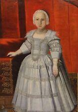 Large 16th Century European Old Master Girl Portrait Bonnet Antique Oil Painting