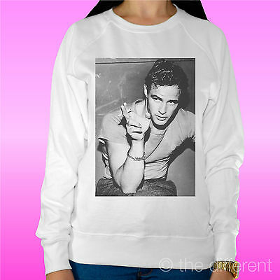 "Felpa Donna Leggera Sweater Bianco "" Marlon Brando Smoke "" Road To Happiness Luminoso E Traslucido Nell'Apparenza"
