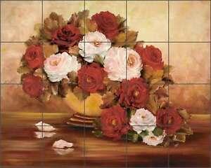 Tile-Mural-Backsplash-Cook-Ceramic-Roses-Flowers-Floral-Kitchen-Shower-Art-CC023