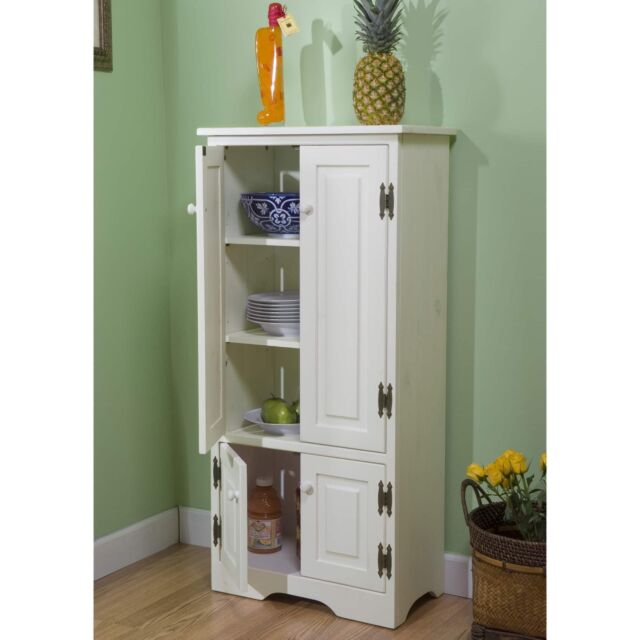 White Wood Tall Storage Cabinet Kitchen Pantry Organizer 4 Door Adjustable  Shelf