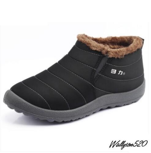 Hiver Homme Imperméable Fourrure Doublé Lacet Décontracté Bottes De Neige Coton Chaussures