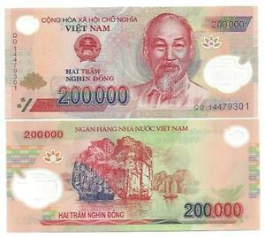 Vietnam 200000 200.000 Dong Polymer Unc 2014 P 123-afficher Le Titre D'origine