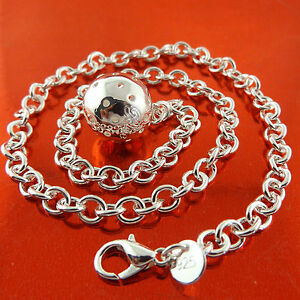 Necklace-Chain-Real-925-Sterling-Silver-S-F-Solid-Ladies-Ball-Pedant-Design-46cm