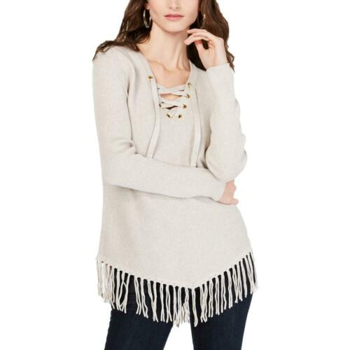 INC Womens Fringe Lace Up Long Sleeves Pullover Sweater Top BHFO 8196