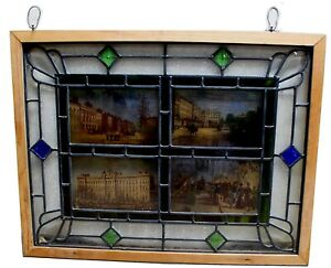 Stained-amp-Leaded-Glass-Accent-Panels-w-Jeweled-Medallions-amp-British-Scenes
