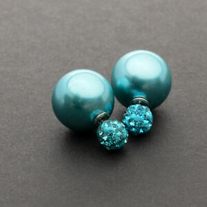 Perlen-Ohrstecker-Ohrringe-Ohrschmuck-Doppelperlen-Perle-Strasskugel-Gruenblau
