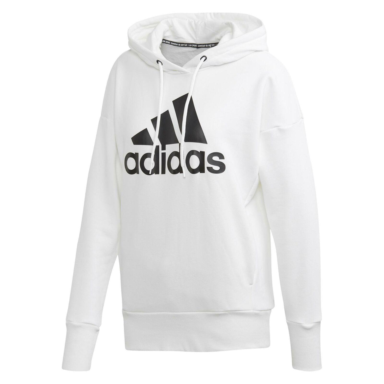 adidas Damen Sweatshirt Kapuzensweathirt Pul r Langarmshirt Sport Mode weiß