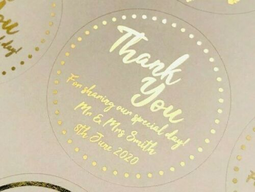45MM WHITE ROUND PERSONALISED YELLOW GOLD FOIL THANK YOU WEDDING LABELS STICKERS