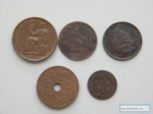Moneda Lote 5 Monedas de Cobre Varios Años