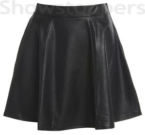 Size-8-10-12-14-Faux-LEATHER-SKATER-SKIRT-Womens-PU-WET-LOOK-Flared-Black-Skirt