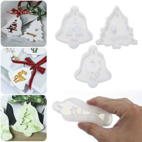 DIY Christmas Hanging Tag Silicone Mold Resin Epoxy Mould Casting Craft Tool