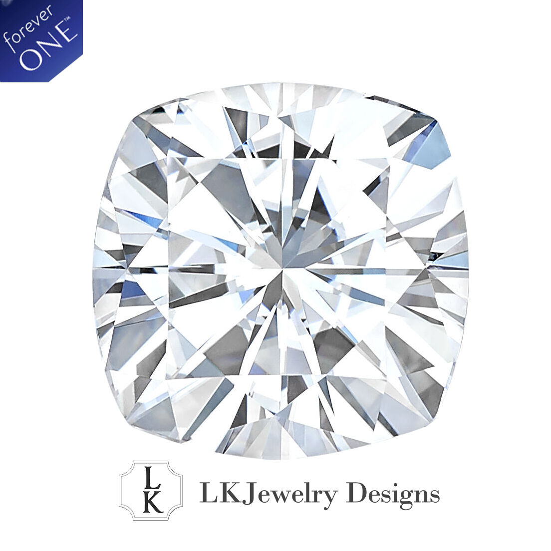 2.40 CT MOISSANITE FOREVER ONE CUSHION LOOSE STONE - 8.0 mm
