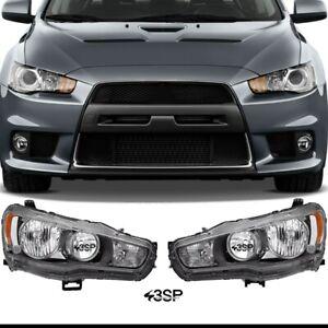 Black Projector Headlights Set Front Lamp For 2008-2017 Mitsubishi Lancer EVO