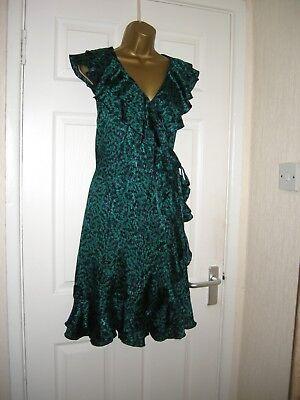 8 Jade/navy Maternity Dress Cool Viscosa Festa Matrimonio Retrò Anni'70 Anni'80 Nuovo-mostra Il Titolo Originale