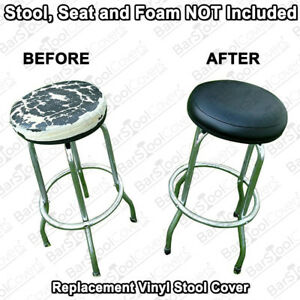 Bar Stool Cover - ELASTIC SLIP ON Black Vinyl Replacement Top - Kitchen - Office