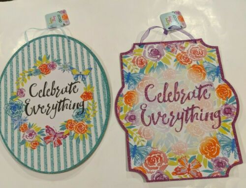 """NEW PRICE/""""CELEBRATE EVERYTHING/"""" Hanging Sign Spring Decor Butterflies /& Flowers"""