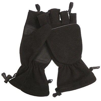 Klapphandschuhe Fleece schwarz, Handschuhe, Kälteschutz           -NEU-