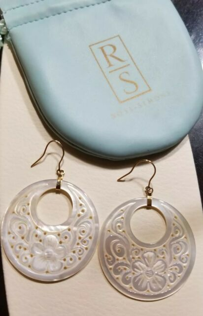 Ross simons 14k Yellow Gold etched flower MOP mother of pearl dangle Earrings