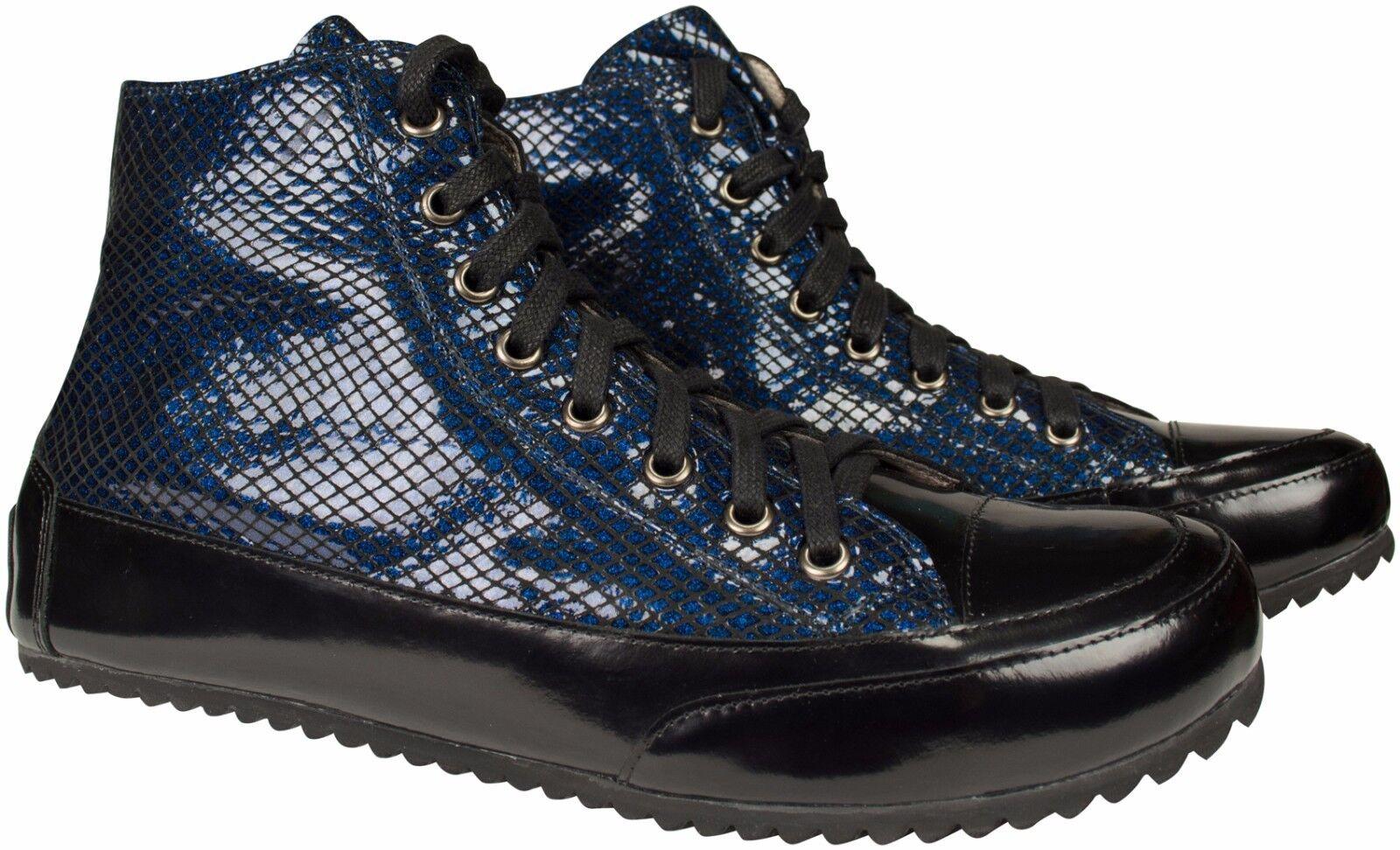 acquista marca Pelle Hightop-scarpe da ginnastica Blu Nero Nero Nero in Pelle Vernice capannone COLLEZIONE PATTERN dimensioni 37  economico