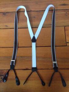 Brown Striped Elastic Leather Loop Brass Buckle Adjustable Suspenders Braces
