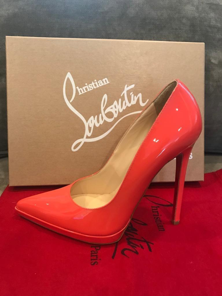 Christian Louboutin PIGALLE PLATO Patent Platform Heels Heels Heels Pumps schuhe Coral  795 58a2d4