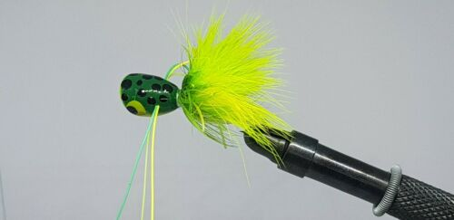 2QTY BASS POPPER FROG Fly Fishing Flies size 2