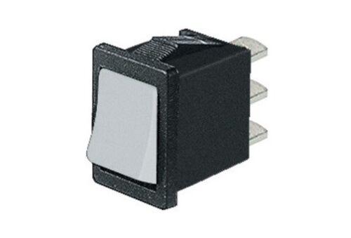 Deviatore bilanciere unipolare miniatura 2 posizioni tasto bianco 250V 125V 10A