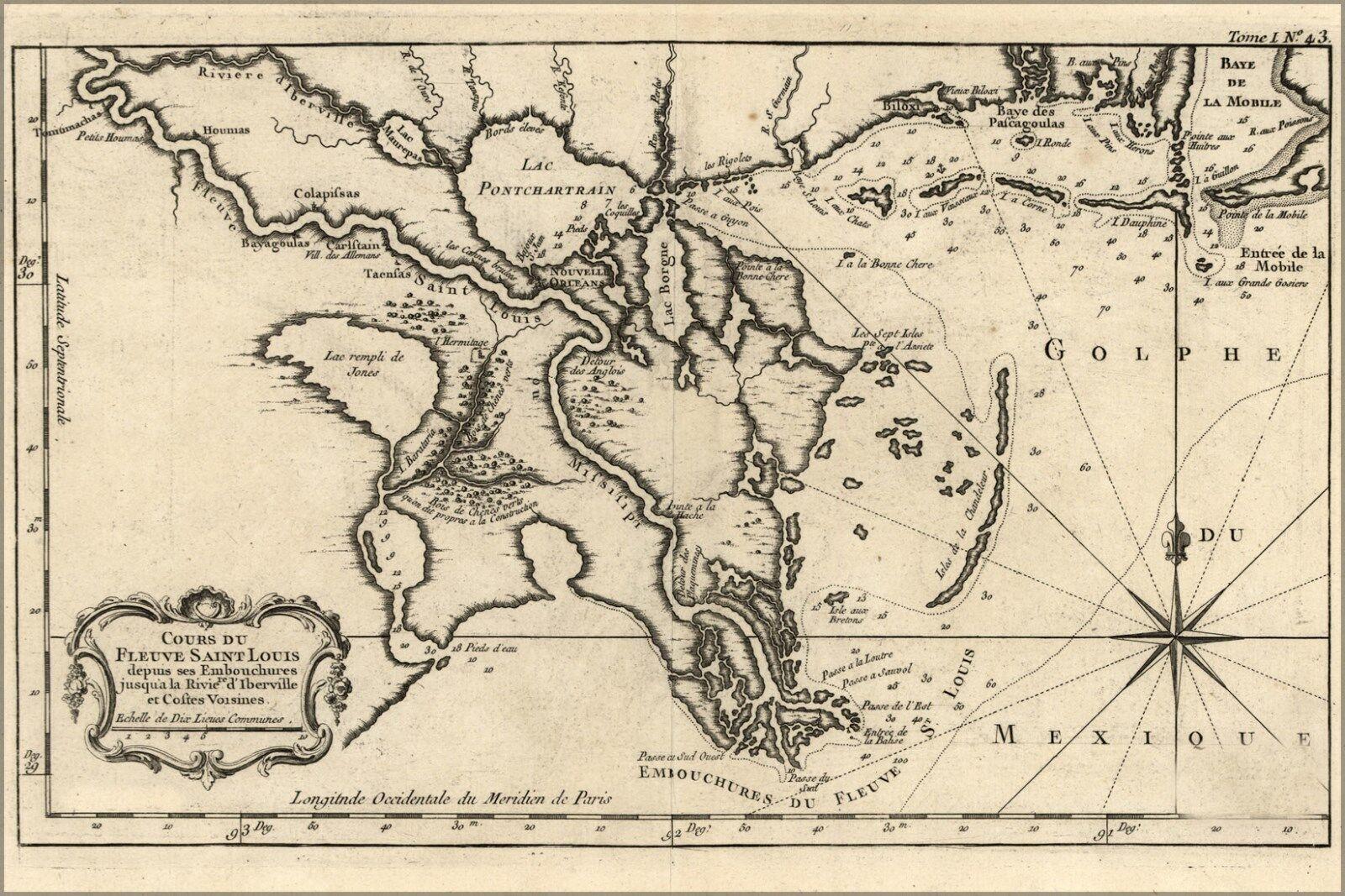 Poster, Molte Misure; Mappa Del New Orleans 1764 In